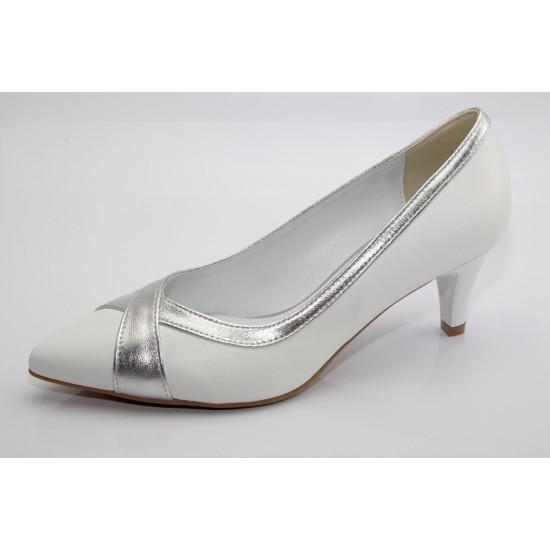 Fehér-ezüst esküvői cipő Ilze