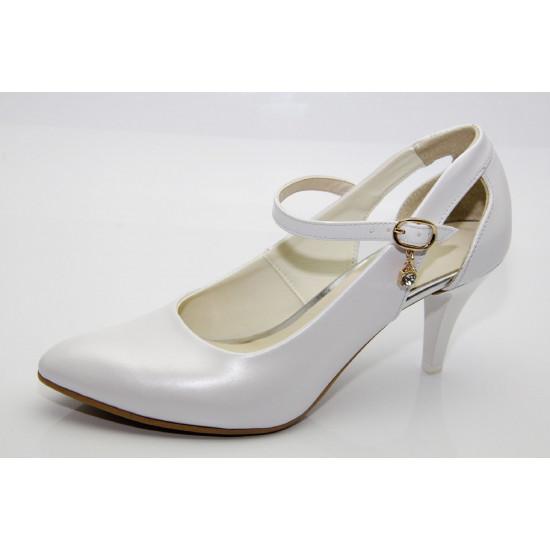 Esküvői fehér gyöngyházfényű cipő Avni