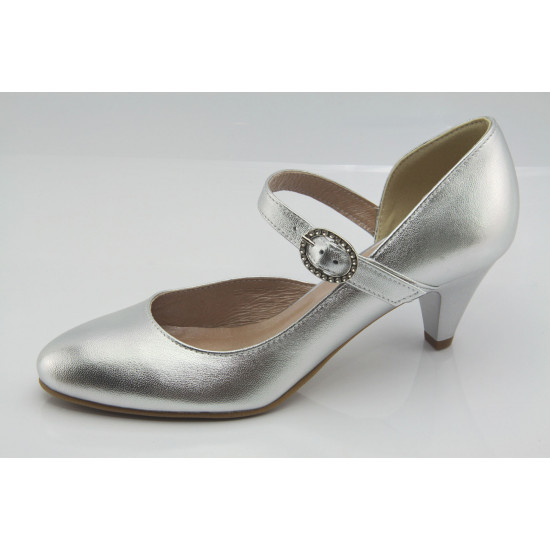 Ezüst alkalmi bőr cipő esküvőre Zoey